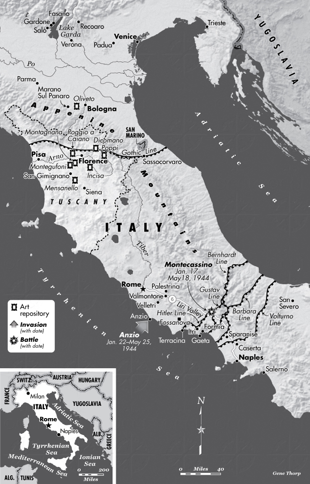 Central italy in world war ii map saving italy robert edsel central italy during wwii map gumiabroncs Gallery