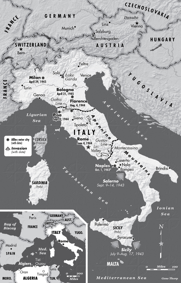 Italy in world war ii map saving italy robert edsel italy during wwii map gumiabroncs Gallery