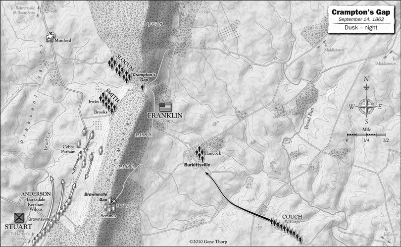 Battle of South Mountain: Crampton,s Gap, September 14, 1862, dusk map