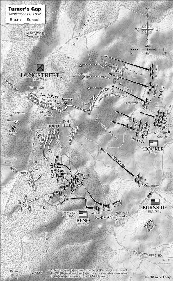 Battle of South Mountain: Turner,s Gap, September 14, 1862, afternoon map