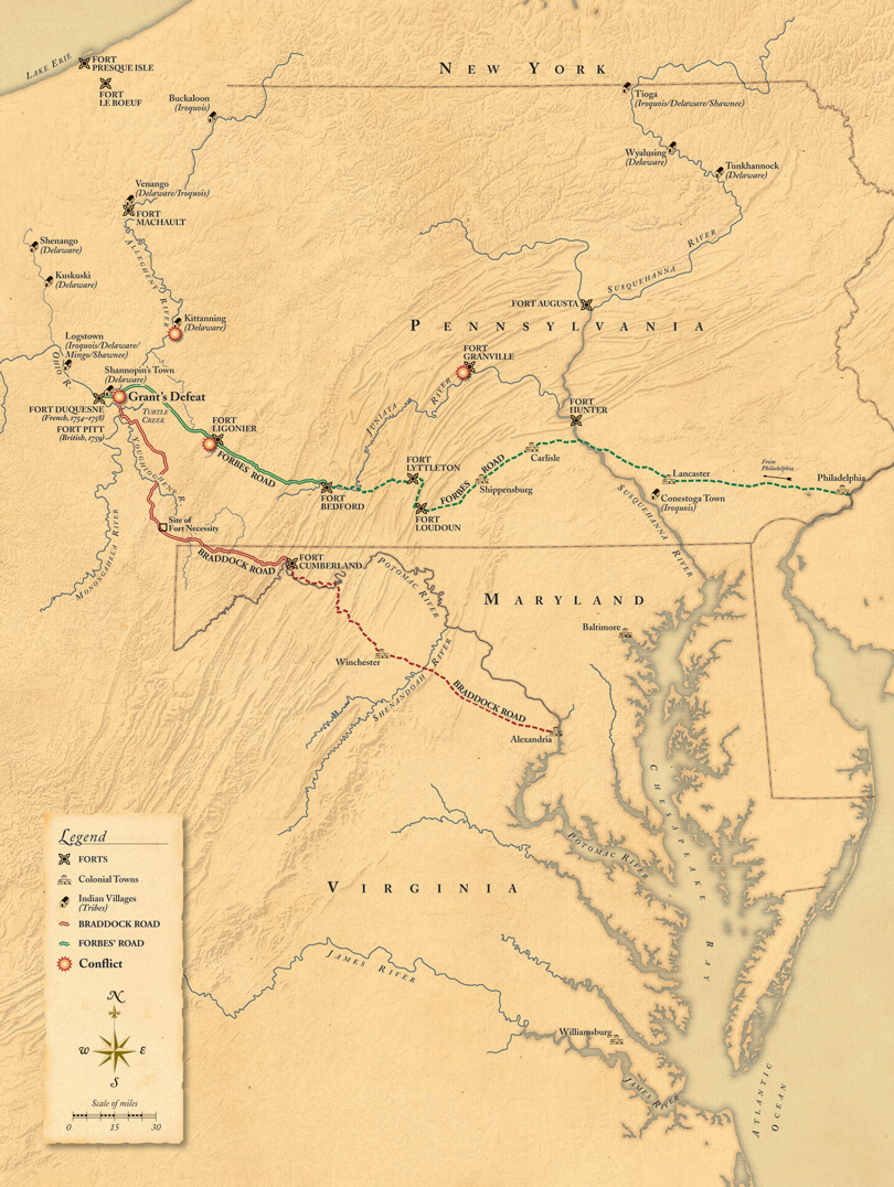 Roads to Fort Pitt map
