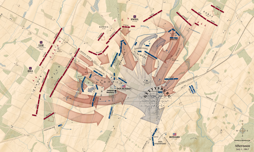 Gettysburg, First Day: Afternoon action map