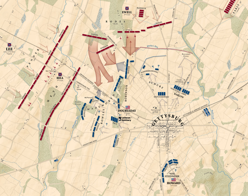 Gettysburg, First Day: Mid-day map