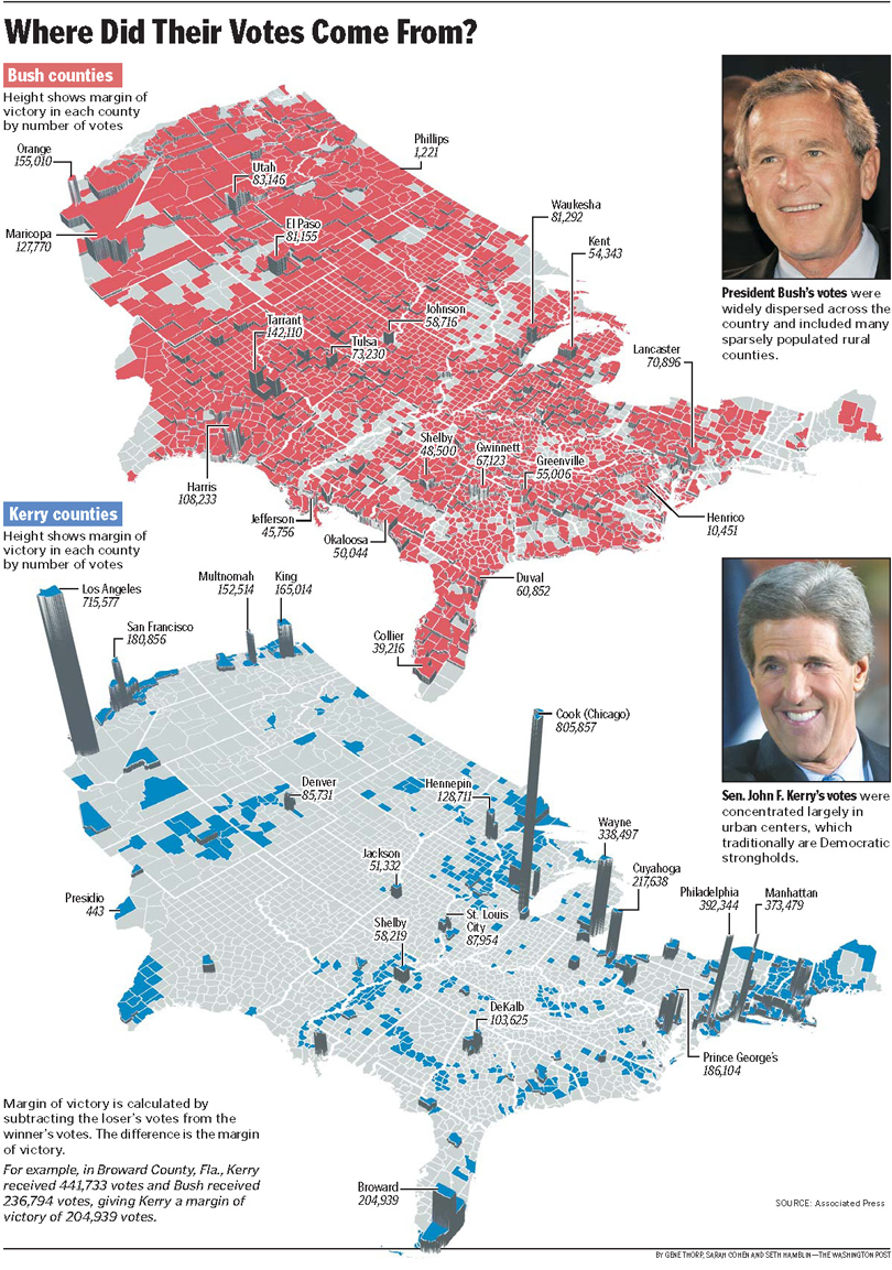 2004 Presidential Election Results Map The Washington Post Gene Thorp Map