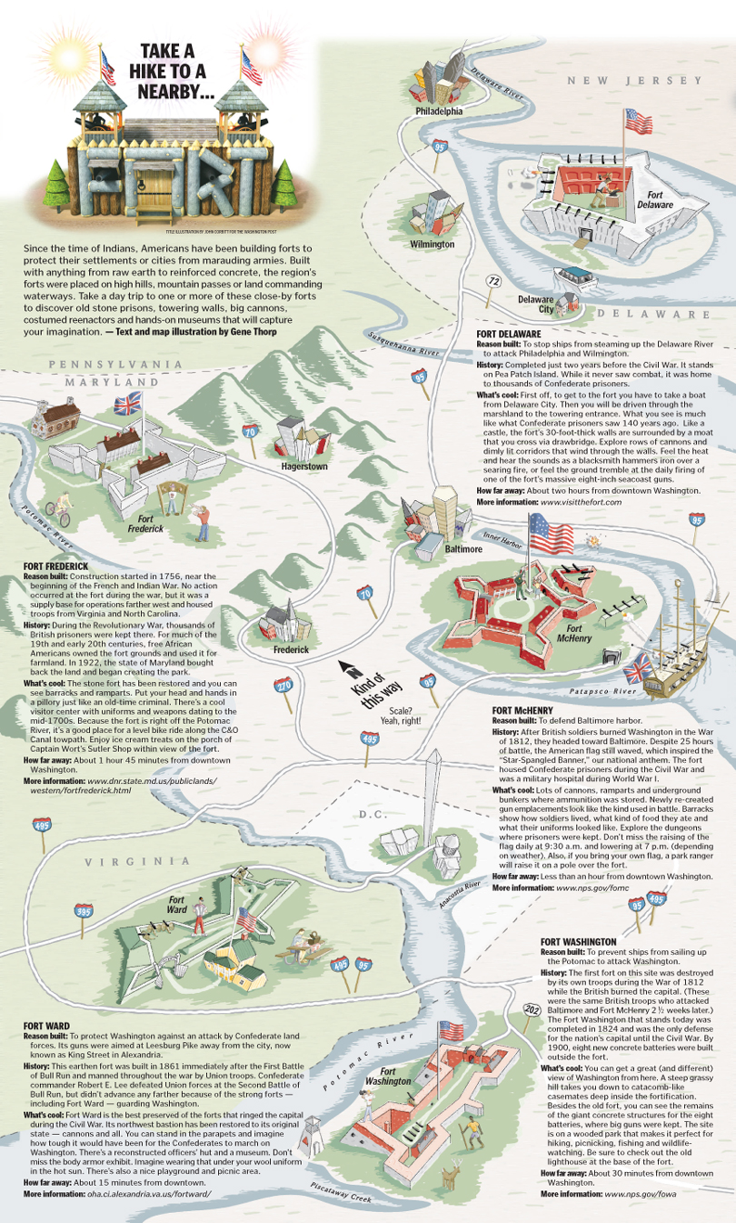 Illustrated Map Of DC Forts The Washington Post Gene Thorp Map - Map od