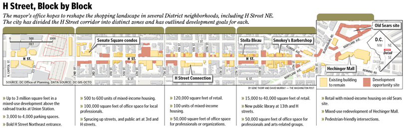 H Street Revitalization Map The Washington Post Gene