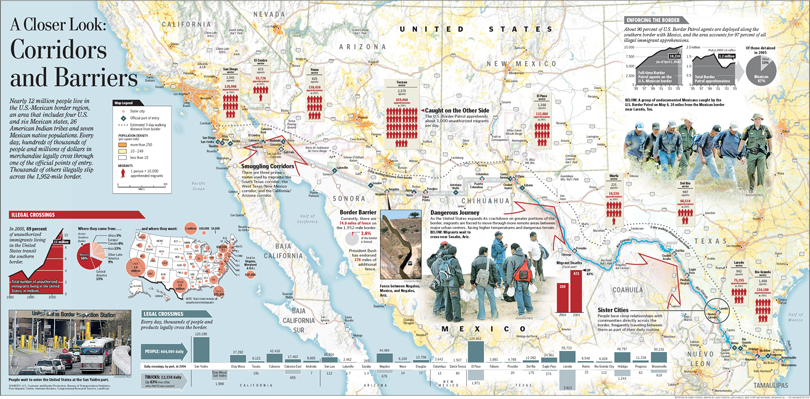Mexico And Us Border Crossings Map The Washington Post Gene Mexico And Us Map