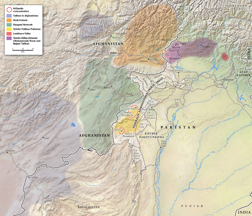 Afghanistan and Pakistan terrorist groups map